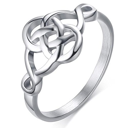 (Jude Jewelers Stainless Steel Plain Classical Celtic Love Knot Ring (Silver, 11))