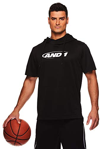 AND1 Men's Short Sleeve Hoodie - Pullover Basketball & Activewear Workout Sweatshirt - Black, - Short Pullover Hoody Sleeve