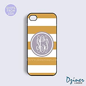 Monogram iPhone 5 5s Case - Yellow White Stripes Purple Circle iPhone Cover
