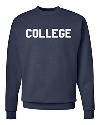 College Unisex Mens Womens Crewneck Sweatshirt Jumper Pullover, Navy, L