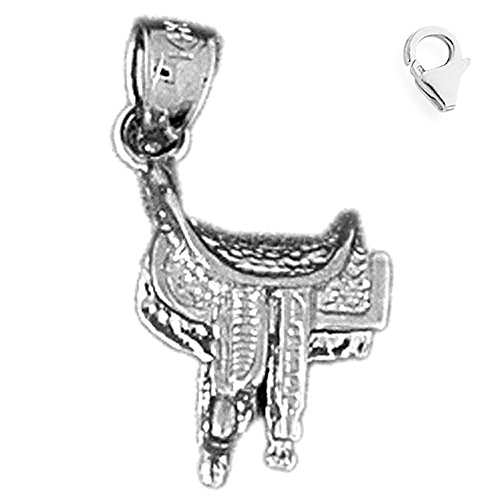 14K White Gold 3D Saddle Charm - 19mm