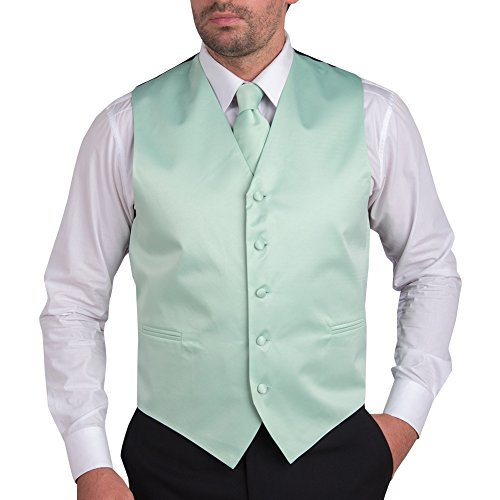 Mens Satin Vest with Matching Tie & Pocket Square - Solid Color Mint 6XL