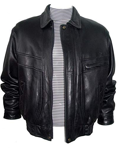 Paccilo Mens Bomber Jacket Leather