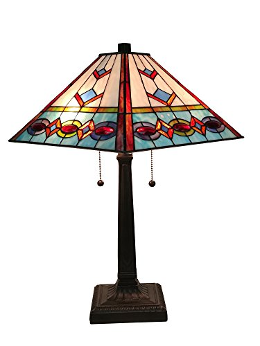 Amora Lighting AM310TL14 Tiffany Style Multi-Color Mission Table Lamp 22 Inches Tall ()