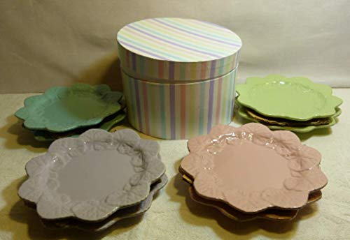 Temp-Tations by Tara Set of 8 Pastel Colors Dessert Plates New Gift Set