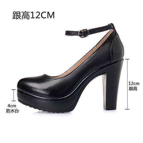 5fca10af Cabeza redonda de cuero blanco solo zapatos de tacón alto de Taiwán  impermeable grueso con correa