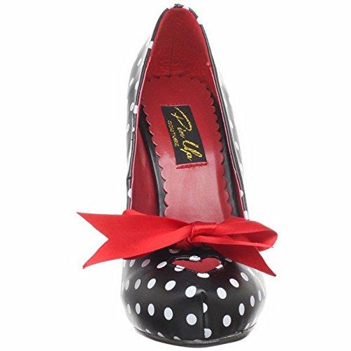 Pleaser Up Satin Bow Polka Couture Cutiepie Pin Tie Platform Pump by Black Hidden Dot With Heel 1vIqvcd6P