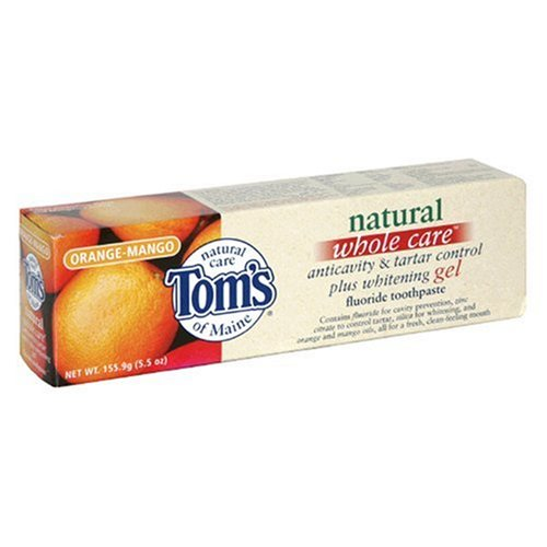 Tom's of Maine Natural Whole Care Anticavity & Tartar Control Plus Whitening Gel Toothpaste, Orange-Mango, 5.5-Ounce Tube ()