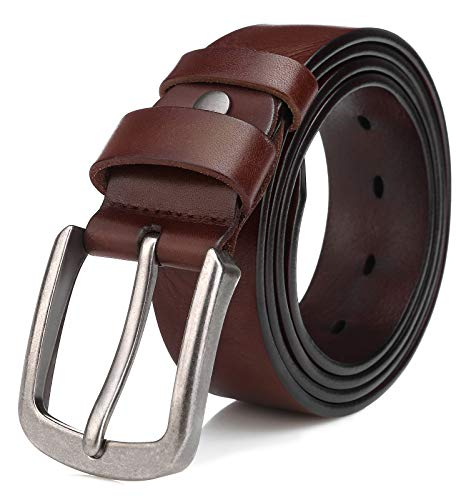 Men's Full Grain Italian Cow Leather Belt Anti-scratch Buckle Belts with Classic Silver Prong for Jeans and Dress, Tan 125cm (Fit Waist 38