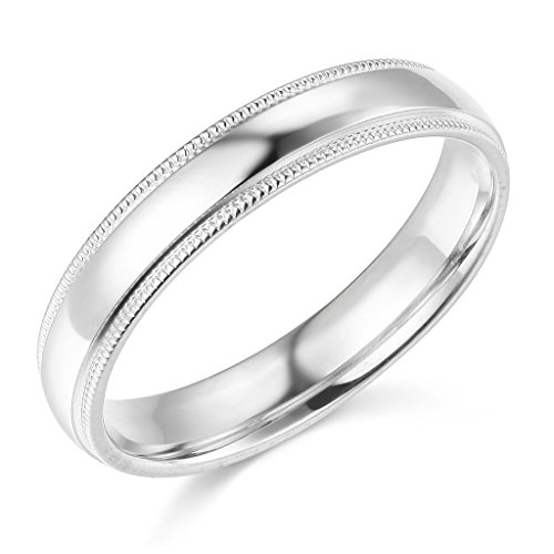14k White Gold 4mm Plain Milgrain Wedding Band - Size - Overnight Online Shipping Shopping