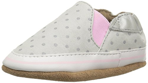 (Robeez Girls Crib Shoe, Dot Mania Metallic/Grey, 0-6 Months M US Infant)