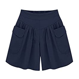 Women Summer Loose Casual Shorts Culottes Elastic Waist Wide Leg Shorts with Pockets