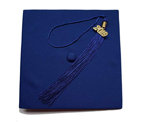 - Matte Adult Unisex Graduation Cap With Tassel 2016 2017 Year Charm Grad Days Royal Blue