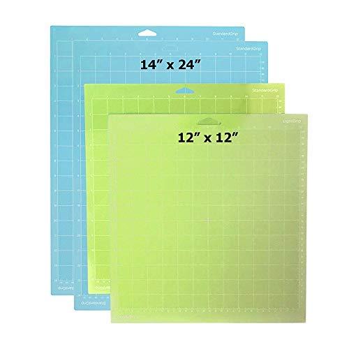 Zama Silhouette Mats – 12 x 12 and 12 x 24 Cutting Mat – 4-Piece Light Grip Cutting Mats Set – Green and Blue – Durable Plastic – Strong, Standard and Light Grip Mat for Cutting Machine