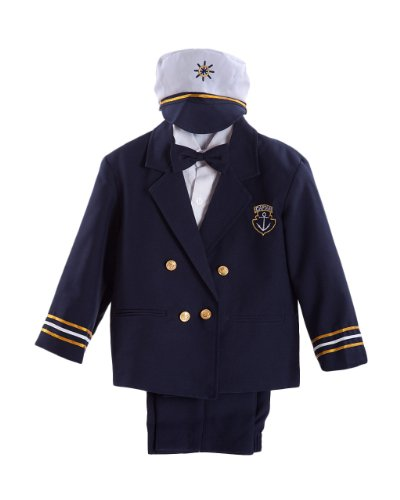 Navy Blue Little Boys Captain Sailor Tuxedo Suit Complete Set with Hat