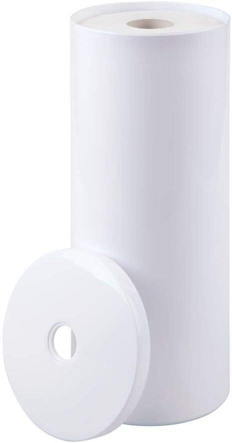 Almacenaje de ba/ño para 3 rollos de papel higi/énico Dibujo de zigzag en blanco Decorativo portarrollos de pie gris y amarillo Sin taladro mDesign Dispensador de papel higi/énico