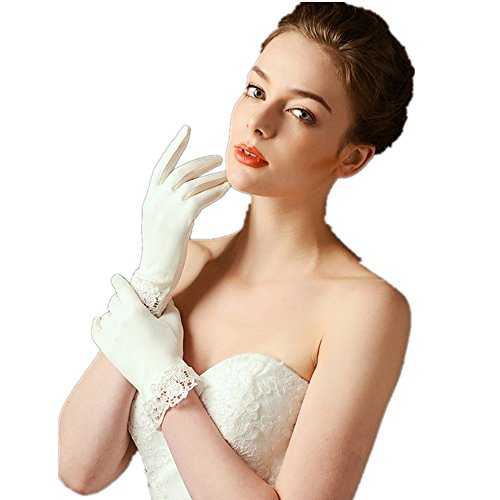 (Bridal Gloves Short Satin Lace Trim Ivory Wrist Length Matte Satin Wedding Glove)