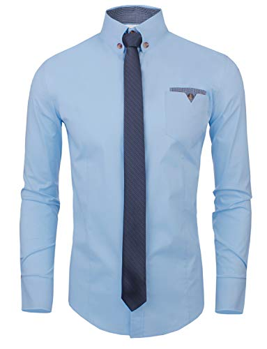 Tom's Ware Mens Classic Slim Fit Contrast Inner Long Sleeve Dress Shirts TWNMS310S-8219-SKYBLUE-US L