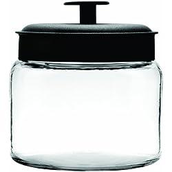 Anchor Hocking Montana Glass Jars with Airtight Lids, Black Metal, 64 oz (Set of 2) - 2 quarts