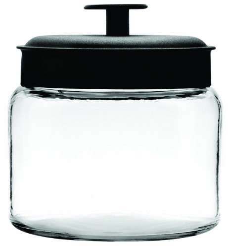 Anchor Hocking Montana Glass Jars with Fresh Sealed Lids, Black Metal, 64 oz (Set of 2)