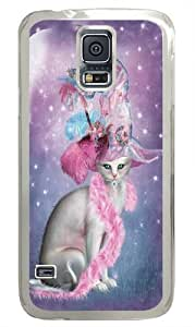 Witchy Cat Hatter PC Case Cover for Samsung S5 and Samsung Galaxy S5 Transparent