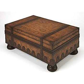 Amazon Com Butler Trunk Coffee Table W Leather