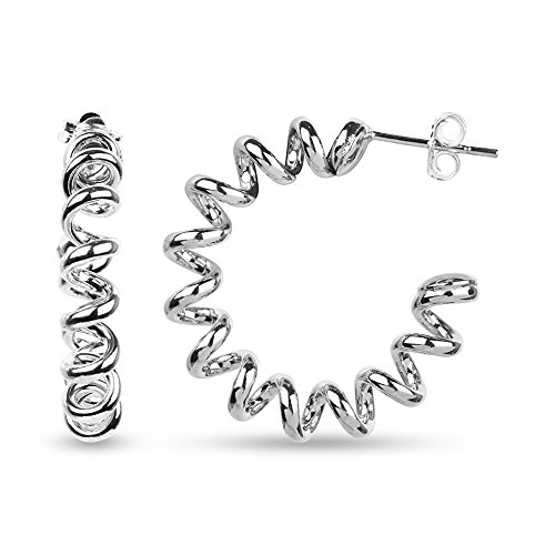 LeCalla Sterling Silver Jewelry Telephone Wire Spiral Solid Butterfly Lock Hoop Earrings Rhodium Plated for ()