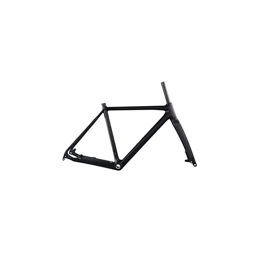 ICAN Full Carbon Cyclocross Frame with Carbon Fork Disc Brake BSA for Thru Axle Wheels 51/53/55/57cm