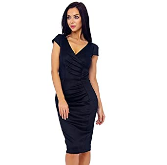 Womens Black Marcella Midi Dress UK Size 14