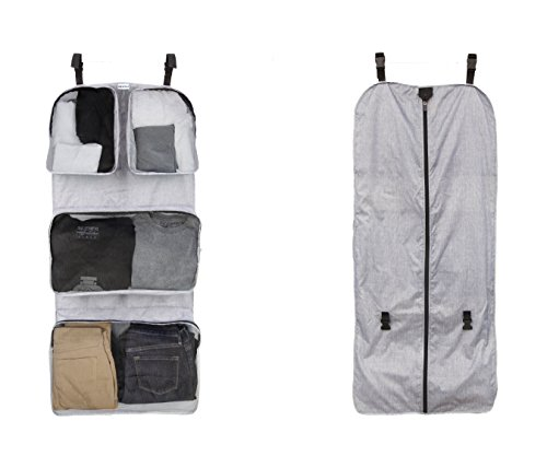 RuMe Tri-fold Garment/Clothing Travel Organizer Bag With Attached Packing Cubes For Clothes And Shoes (Heather Gray)