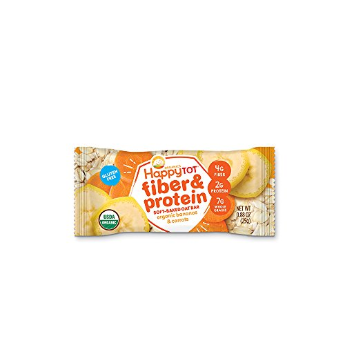 Happy Tot Fiber amp Protein SoftBaked Oat Organic Toddler Snack Banana amp Carrot 44 Ounce Bars Box of 5 Chewy Oat Bars with Organic Fruits Veggies Whole Grains Gluten Free Kosher NonGMO