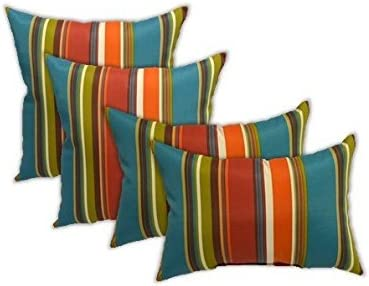 Set of 4 Indoor Outdoor Pillows – Square Throw Pillows 2 Rectangle Lumbar Throw Pillows – Westport Teal, Orange, Red, Green Stripe – Choose Size 17 11 x 19