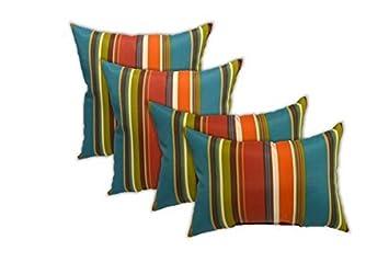 Set of 4 Indoor Outdoor Pillows – Square Throw Pillows 2 Rectangle Lumbar Throw Pillows – Teal, Orange, Red, Green Stripe – Choose Size 17 11 x 19