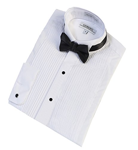 Gioberti Boy's Wing Tip Collar Tuxedo Dress Shirt with Bow Tie, White, Size 16 by Gioberti (Image #1)