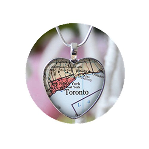 Toronto Canada heart shape vintage map necklace. Location gift pendant.