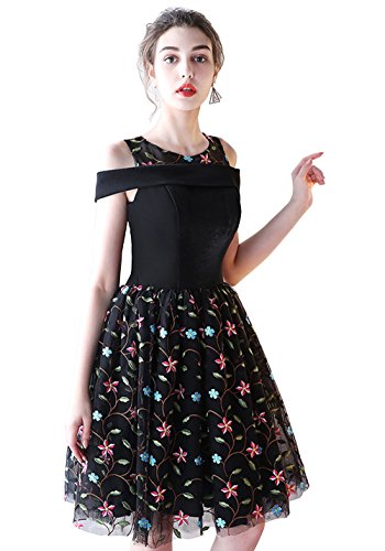 Bridal Short Prom Floral Women Annies Dresses 2 Applique For Homecoming Black Party Evening wqgxAF