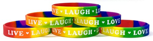 - TheAwristocrat 6 Pack Live Laugh Love with Hearts Inspirational Silicone Wristband Rubber Bracelet (Rainbow, Youth (7