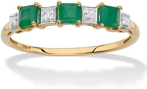 Solid 10k Yellow Gold Princess-Cut Genuine Green Emerald Diamond Accent Ring