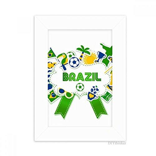 DIYthinker Soccer Football Brazil Cultural Desktop Photo Frame Picture White Art Painting 5x7 inch by DIYthinker