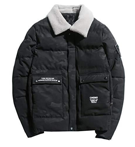 Quilted Warm Neck Gocgt Zipper Down Men Coat Fleece Puffer Jacket Black Slim wSII6qA