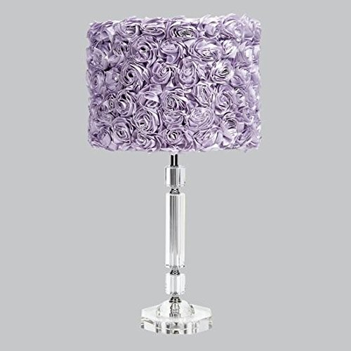 Jubilee Collection 874001-4712 Crystal Slender Lamp with Lavender Rose Garden Drum Shade