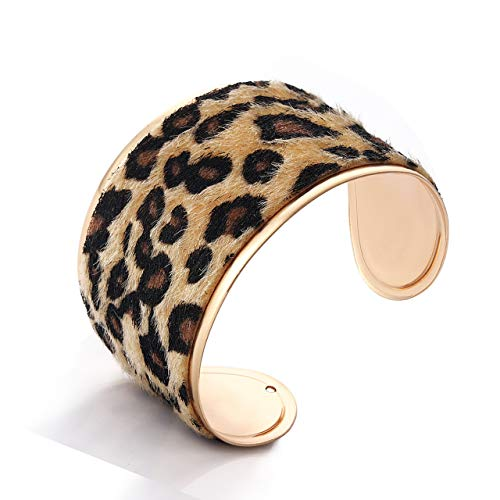 LIAO Jewelry Leopard Cuff Bracelet for Women Horse Hair Leather Wide Gold Open Bangle Bracelets