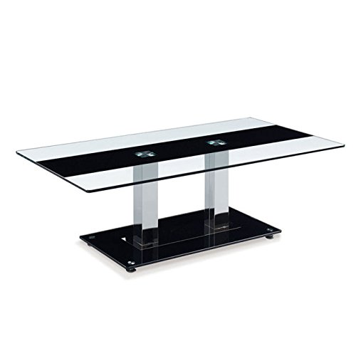 Silver Finish Counter Height Glass - Global Furniture Clear/Black Stripe Occasional Coffee Table with Silver Legs