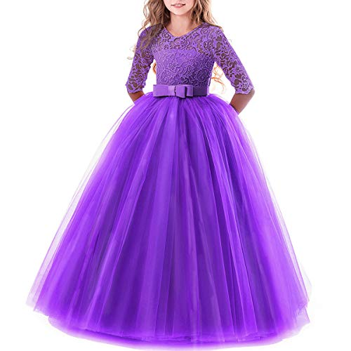 (Toddler Girl's Embroidery Tulle Lace Maxi Flower Girl Wedding Bridesmaid Dress 3/4 Sleeve Long A Line Pageant Formal Prom Dance Evening Gowns Casual Holiday Party Dress Purple 11-12)