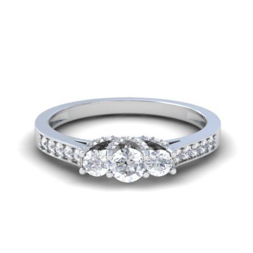 Dazzlingrock Collection 1.00 Carat (ctw) 14K Round White Diamond 3 Stone Bridal Engagement Ring 1 CT, White Gold, Size 8 by Dazzlingrock Collection (Image #2)