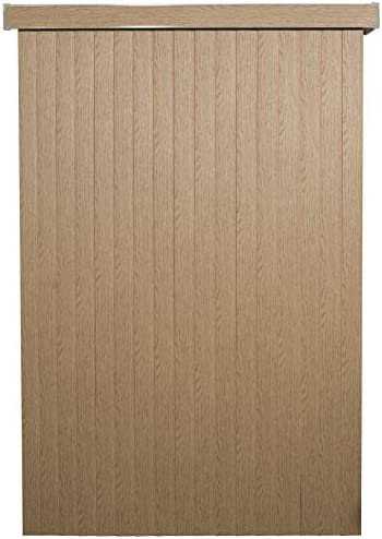 Pecan WoodLook Textured Vinyl Vertical Blinds with Embossed Vanes, 78 Wide x 84 Long Cordless