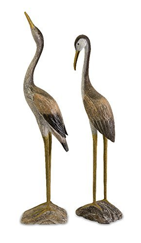 IMAX 50894-2 Reeds Wood Cranes, Set of 2 (Two Cranes)