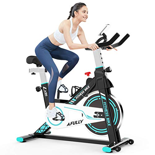 Afully Indoor Exercise Bikes Stationary,Fitness Bike Quiet Belt Drive with Adjustable Resistance, LCD Monitor&Phone…