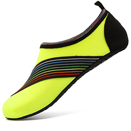 VIFUUR Water Sports Shoes Barefoot Quick-Dry Aqua Yoga Socks Slip-on for Men Women Kids XidaiYellow-34/35