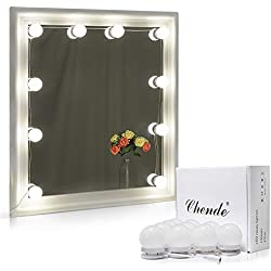 Chende Hollywood Style LED Vanity Mirror Lights Kit with Dimmable Light Bulbs, Lighting Fixture Strip for Makeup Vanity Table Set in Dressing Room, Mirror Not Included (10 Light Bulbs)